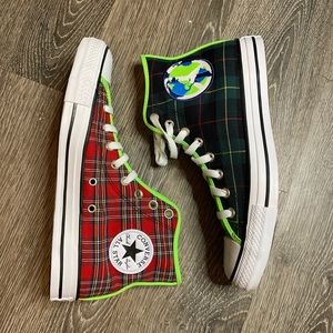 BRAND NEW 3 TONE PLAID high top CONVERSE sneakers